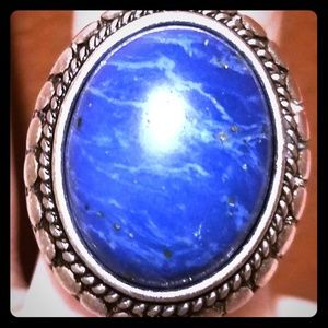 Lucky Brand Large Blue Stone Ring sz 7